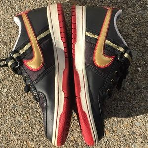 Nike Shoes - NIKE woman's black/gold/red sneakers